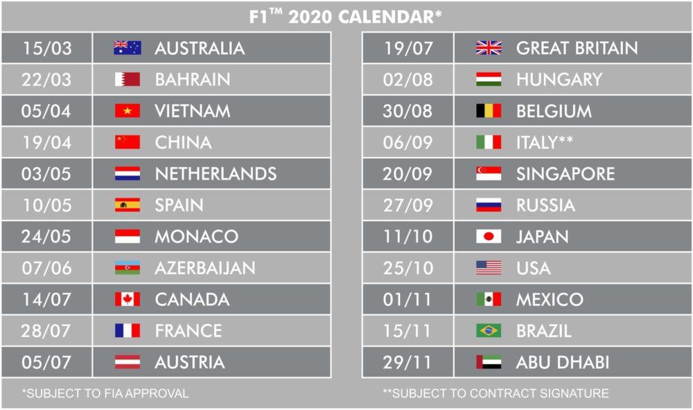 Formula 1 Schedule 2020.22 Races In 2020 Scuderia Toro Rosso