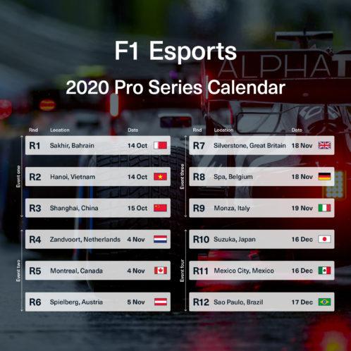 F1 Esports Calendar 2020 by Scuderia AlphaTauri